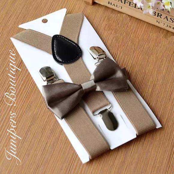 5d0d6ed598c Boutique Baby Boy Khaki Suspenders   Bow Tie